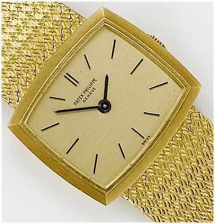 Patek Philippe. A lady's 18ct gold bracelet watch  1970's, Mov. No:999270, Case No:2689079, Ref. No:3352