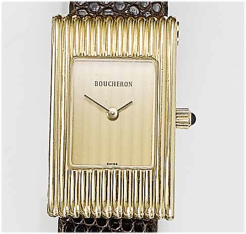 Boucheron. A lady's 18ct gold wristwatch 1980's