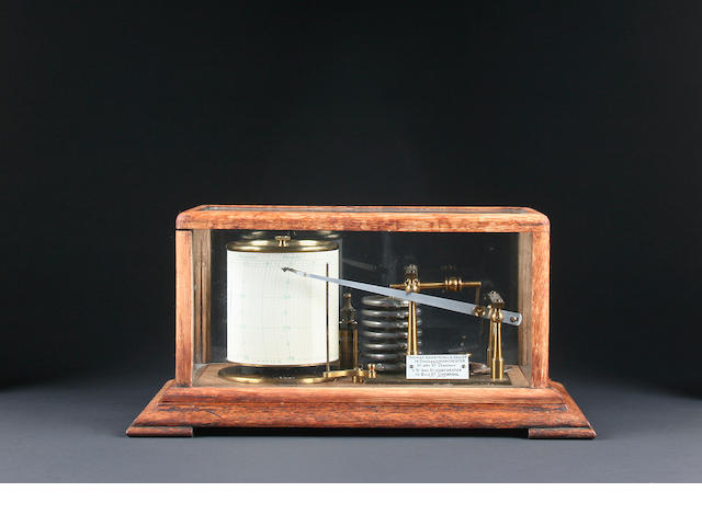 An early 20th Century oak-cased barograph
