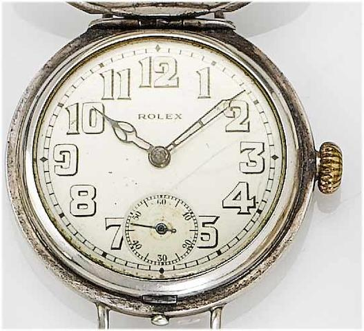 Rolex. A silver full hunter wristwatch  London Import mark for 1916