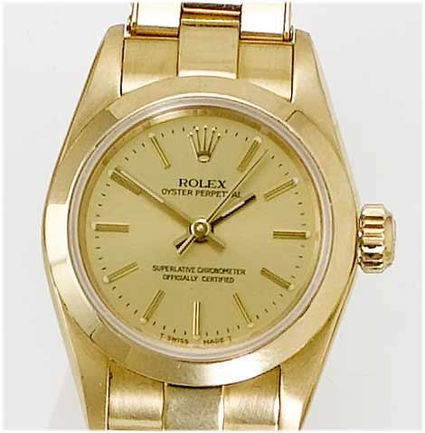 Rolex. A lady's 18ct gold centre seconds bracelet watch  Oyster, 1995
