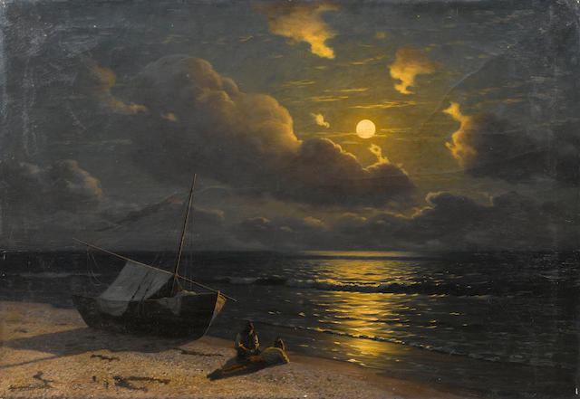 G.O. Kalmykov (Russian, born 1873) Moonlit seascape 84 x 122 cm. (33 x 48 in.)