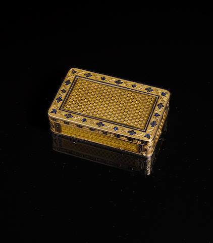 A fine veri-gold and enamel erotic musical snuff box, circa 1830, Swiss,