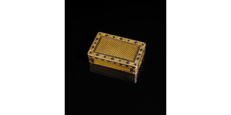 A fine veri-gold and enamel erotic musical snuff box, circa 1830, Swiss,