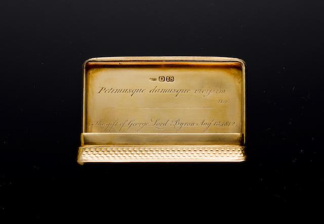 A George III 18 carat gold snuff box, by Alexander J. Strahan, London 1809,