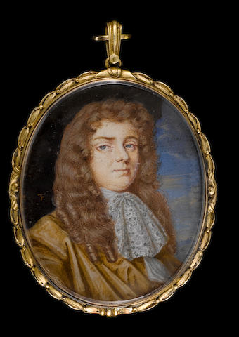 (n/a) Thomas Flatman (British, 1637-1688) William Russell, Lord Russell (1639-1683), wearing ochre coloured cloak, lace jabot and white chemise, his hair curled and worn long