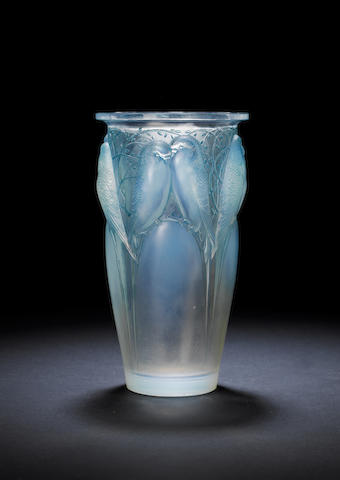 René Lalique 'Ceylan' an Opalescent and Stained Glass Vase, design 1924