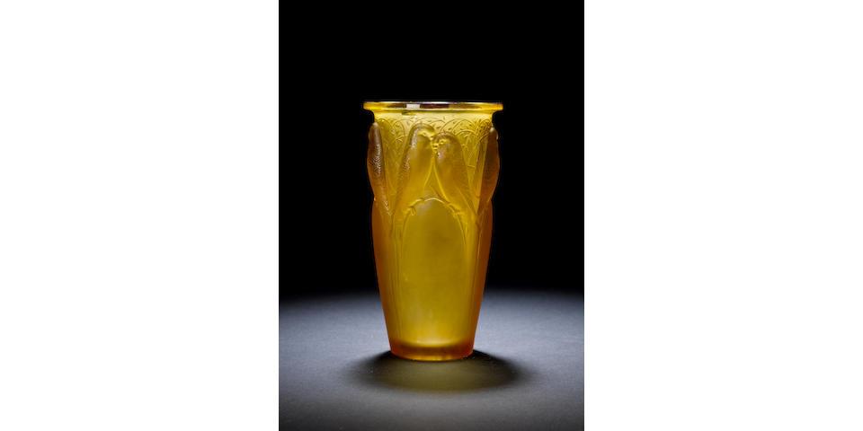 René Lalique  'Ceylan' a Rare Amber Glass Vase, design 1924