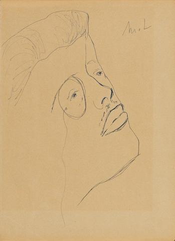 Mikhail Fedorovich Larionov (Russian/French, 1881-1964) Tête de Serge Diaghilev 27.2 x 20 cm. (10 3/