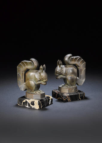 Max Le Verrier  A Pair of Art Deco Squirrel Bronze Bookends, circa 1925