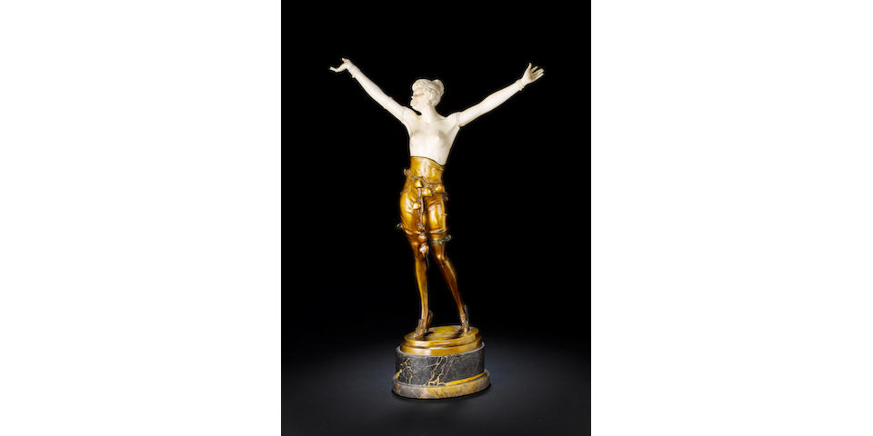 Bruno Zach  A Large Bronze and Carved Ivory Figure, circa 1920