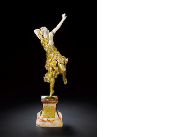 Claire J.R Colinet 'The Sun Dancer' a Fine Gilt Bronze and Carved Ivory Figure, circa 1920