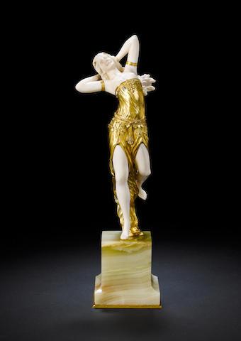 Henry Fugère 'Salome' a Gilt Bronze and Carved Ivory Figure, circa 1920