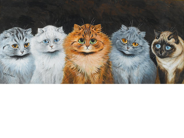 Louis William Wain (British, 1860-1939) Five cats 24 x 54 cm. (9 1/2 x 21 in.)