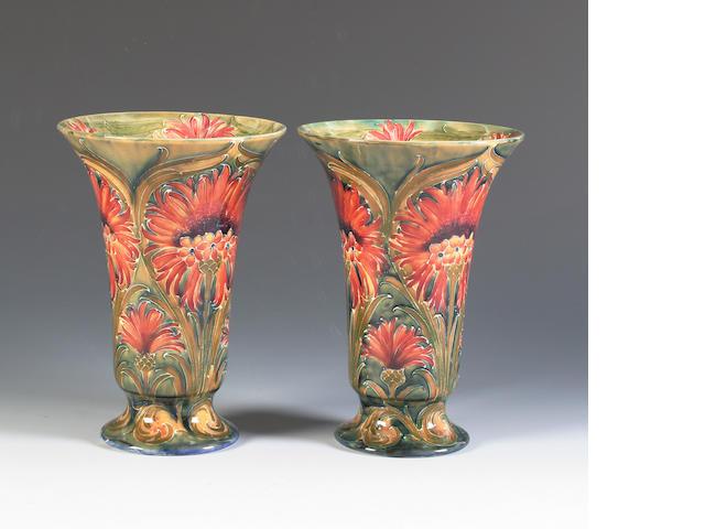 A pair of William Moorcroft Macintyre 'Cornflower' vases