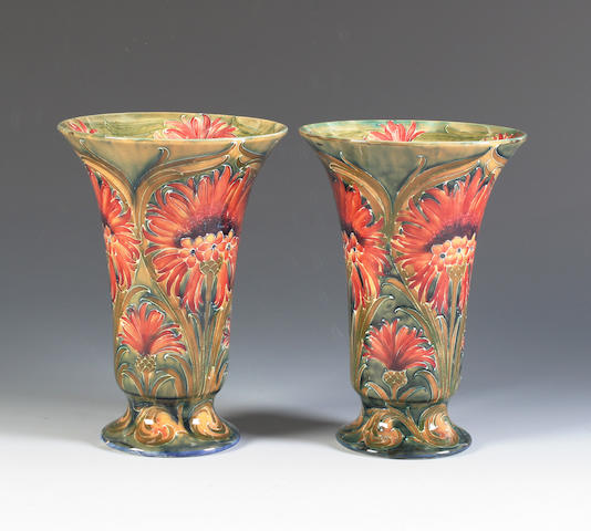 A pair of William Moorcroft Macintyre 'Cornflower' vases