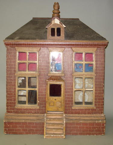 'Holly Cottage' painted wooden red brick dolls house, English circa 1880