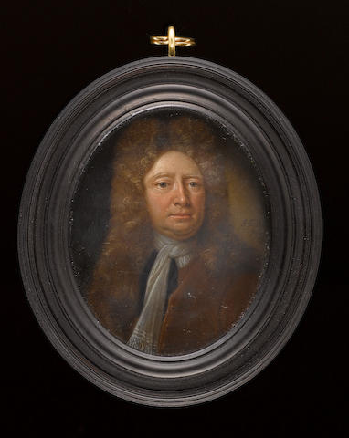 James Fellowes (British, active 1735-1751) Sir Hans Sloane (1660-1753), wearing brown coat, white jabot, black cloak and long curled wig