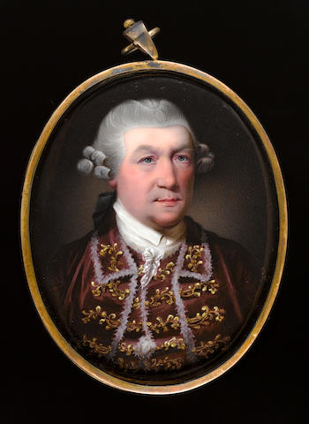 Henry Spicer, FSA (British, 1743-1804) George Mercer (1723-1799), wearing red-brown jacket with elaborate gold trimmings to the collar and lapels, matching waistcoat, high white stock, and curled and powdered wig worn en queue with a black ribbon bow