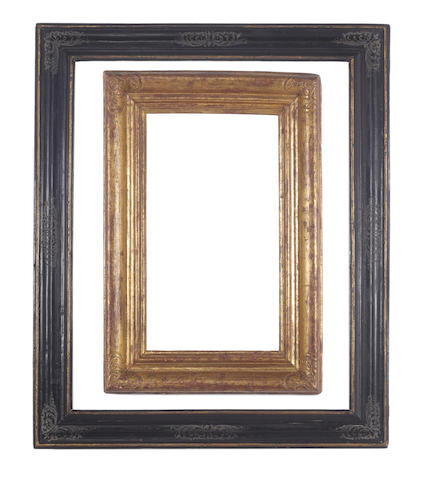 An Italian late 16th Century parcel gilt and black painted moulding frame