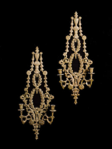 A pair of late Victorian carved giltwood twin-light Wall Appliques in the George III style