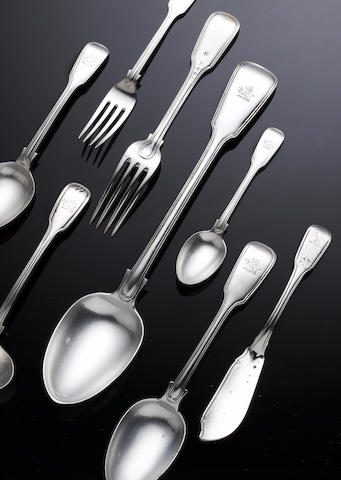 A Victorian silver Fiddle and Thread pattern table service of flatware, various maker's including Wi
