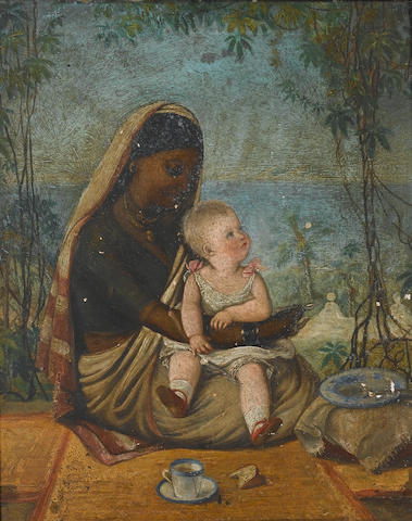 English School, circa 1865 Portrait of the child Ludovic James Grant with his ayah 37.5 x 31 cm. (14¾ x 12¼ in.)