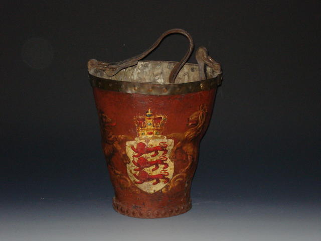 A 19th century leather fire bucket
