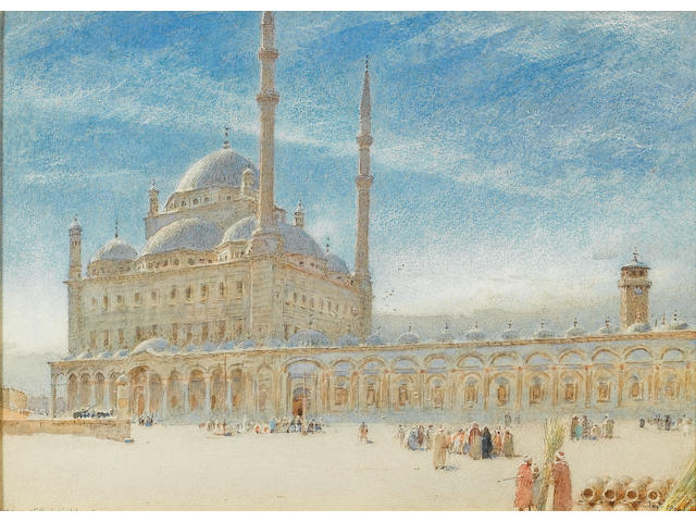 Albert Goodwin (British, 1845-1932) Mosque of the Citadel, Cairo 27 x 37 cm. (10½ x 14½ in.)