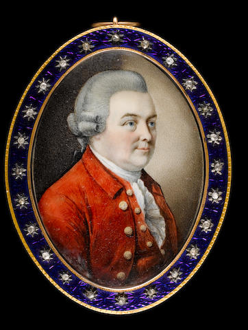 Attributed to Daniel O'Keeffe (Irish, 1740-1787) Edward Gibbon (1737-1794), wearing red coat, waistcoat, frilled white chemise and powdered wig worn en queue with side buckles and black ribbon bow