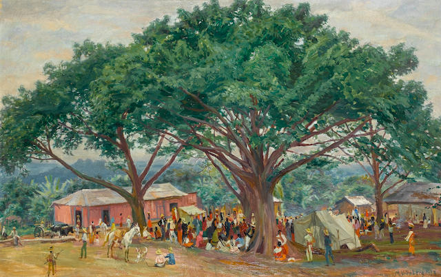 Max Vollmberg (German, circa 1882-1930) Village festivities, Guatemala 64.5 x 99.5 cm. (25¼ x 39¼ in.)