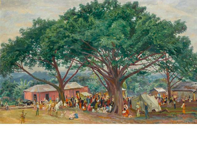 Max Vollmberg (German, circa 1882-1930) Village festivities, Guatemala 64.5 x 99.5 cm. (25¼ x 39¼ in