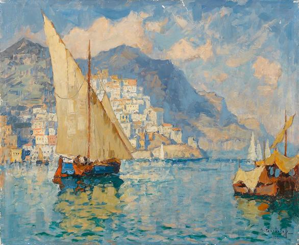 Konstantin Ivanovich Gorbatov (Russian, 1876-1945) Amalfi 50 x 61 cm. (19 3/4 x 24 in.) unframed