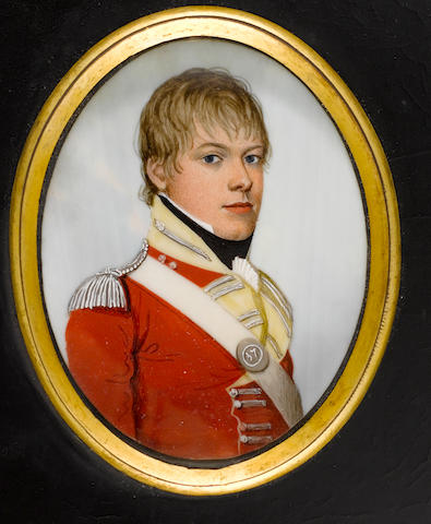 (n/a) Frederick Buck (Irish, 1771-circa 1840) Captain Fenton (d.1820), wearing the uniform of the 37th (the North Hampshire) Regiment of Foot, scarlet coatee with yellow facings, silver epaulette and white cross-belt, the belt plate bearing number 37, frilled white cravat and black stock