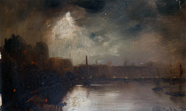 George Hyde Pownall (British/Australian, born circa 1876-1932) View of the Thames showing Cleopatra's Needle