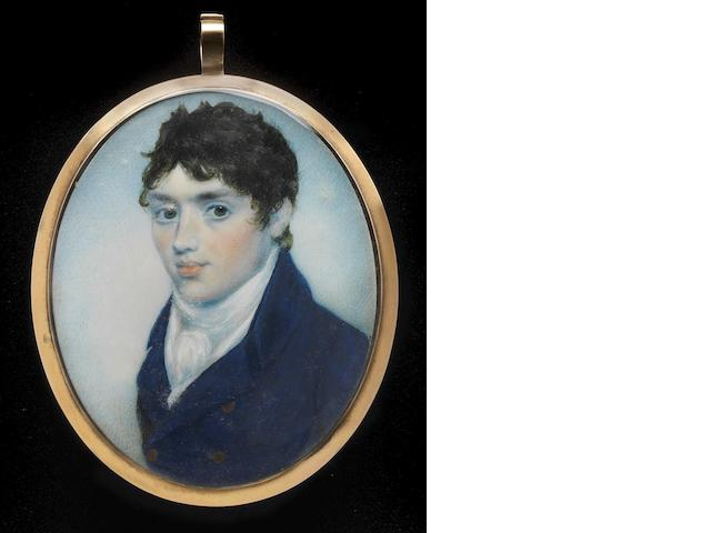 (n/a) George Place (Irish, died 1805) A Gentleman, wearing blue coat with brass buttons, white waistcoat and tied stock