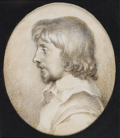 Peter Oliver (British, 1589-1647) Self-portrait in profile to the left, wearing doublet and white lawn collar, with moustache and beard