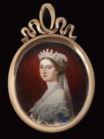 After Franz Xavier Winterhalter, mid 19th Century The Empress Eugénie of France (née Eugénie de Montijo, Condesa de Teba) (1826–1920), wearing white dress with lace collar trimmed with blue ribbons, sash of the Spanish Order of Maria Louise, several pearl necklaces and a pearl tiara and veil in her upswept hair