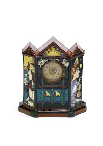 Frederick Rhead for Foley Pottery An Intarsio Clock, circa 1900