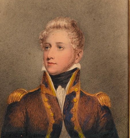 (n/a) Adam Buck (Irish, 1759-1833) A Naval Officer, wearing uniform, dark blue coat with gold trimmed facings and collar, gold epaulettes, frilled white chemise and black stock