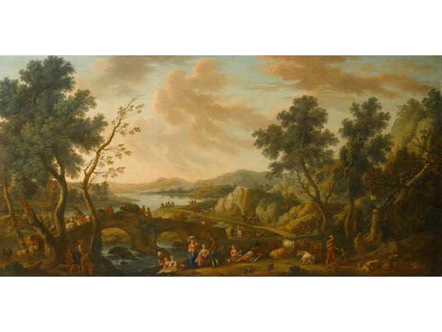 Attributed to Vittorio Amadeo Cignaroli (Turin 1747-1793) An extensive river landscape