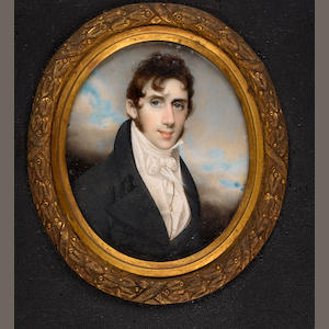 George Chinnery, RHA (British, 1774-1852) Dr John Macwhirter (c.1780-1853), wearing black coat, whit