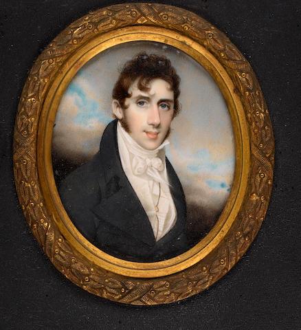 George Chinnery, RHA (British, 1774-1852) Dr John Macwhirter (c.1780-1853), wearing black coat, white waistcoat, frilled chemise and tied cravat