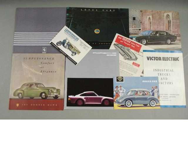 Assorted sales brochures, catalogues and epehemera,