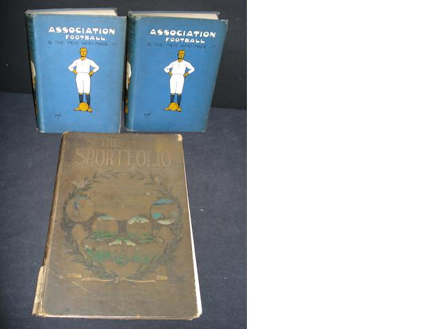 Association football two volumes and sportfolio book