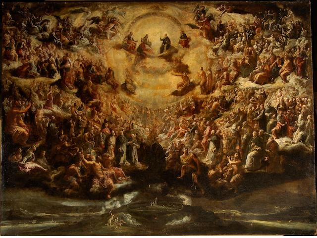 Scipione Compagno (Naples circa 1624-circa 1680) The Holy Trinity with Saints in Heaven