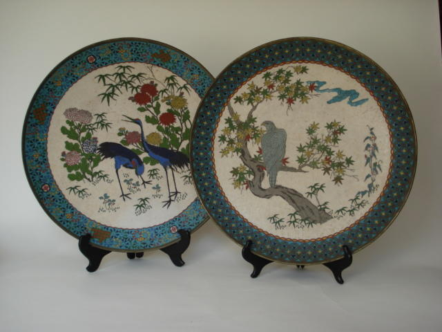 Two large similar Japanese cloisonné chargers Meiji period