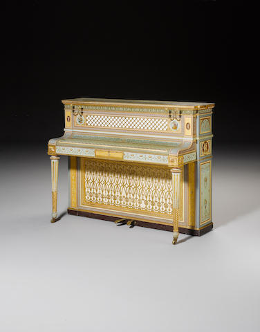 An important  polychrome and parcel gilt decorated oblique strung upright Exhibition Pianoforte by W