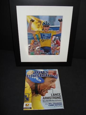 Lance Armstrong signed programme and framed photograph