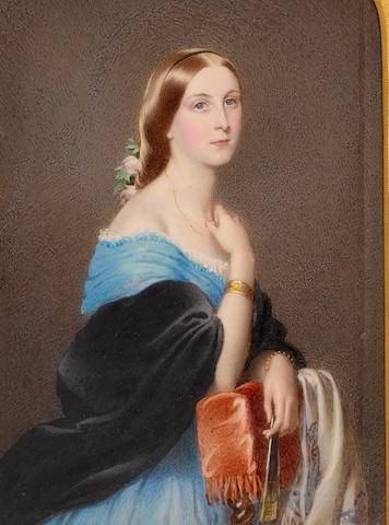 (n/a) Edward Tayler (British, 1828-1906) Sophia Margaret Hoster, half-length, wearing blue dress with frilled white underslip, black shawl, gold bracelets and pink roses in her hair, she rests against the back of an upholstered chair draped with embroidered shawl, her right hand raised, holding her necklace, a fan in her left hand